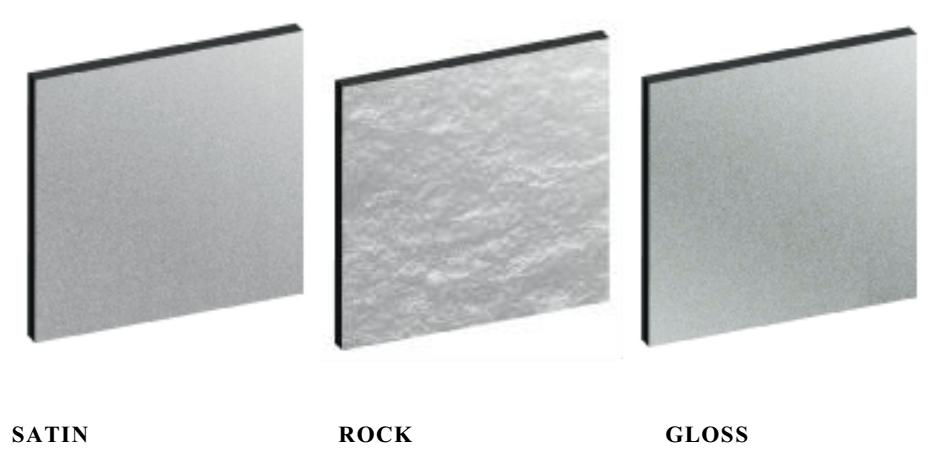 TRESPA® METEON® Uni Colours afwerking voorbeeld Satin Rock en Gloss
