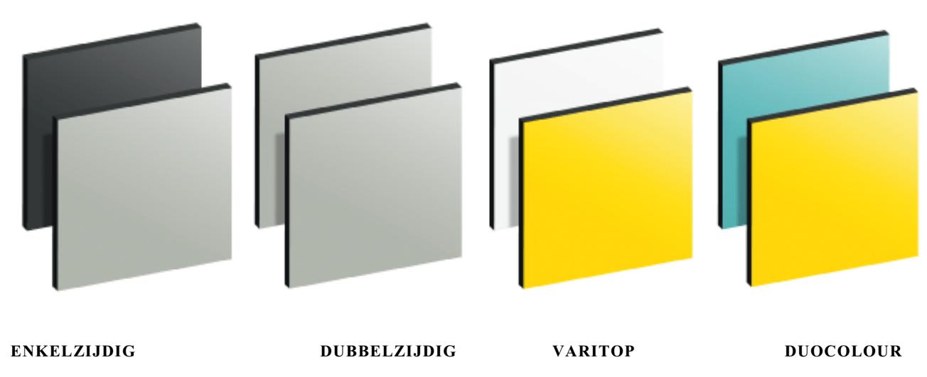 TRESPA® METEON® Uni Colours voorbeeld van uitvoering of type (enkelzijdig gekleurd, dubbelzijdig gekleurd, Duocolour en Varitop)